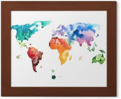 Çerçeveli Baskı Elle çizilmiş suluboya dünya haritası suluboya illüstrasyon.