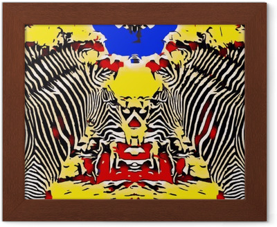 drawing and painting zebras with red yellow and blue background Framed Poster