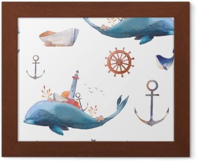 Obraz na plátně Akvarel tvořivý velryb seamless vzor. ručně malované  fantazie textury s modrou moře velryby a02e38cb2c