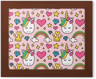 Ingelijste Poster Schattige Eenhoorn, prinses concept, meisje schoonheid naadloze patroon geïsoleerd op roze achtergrond. vector cartoon ontwerp. magie, sprookje, hart, regenboog, kroon, sterren, diamant