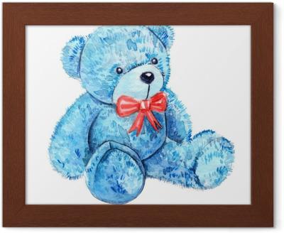 Carta da parati simpatico cartone animato acquerello peluche blu