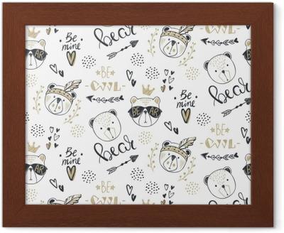 Fotomural Vector moda oso de patrones sin fisuras. Ilustración linda del  peluche en el estilo de dibujo. Fondo de animales de dibujos animados.  doodle osos. ... 7ba33f8ab988c