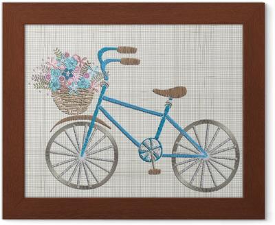 Plakát Výšivka s modrým květem v košíku a dárky. vektorové nápady na  vyšívání 8a79239949