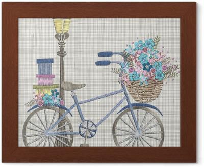Obraz na plátně Výšivka s modrým květem v košíku a dárky. vektorové nápady  na vyšívání 341022357f