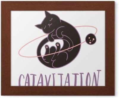 Söt katt som flyger i rymden sova omgiven av stjärnor, planeter   asteroider  handbokstäver  enkel söt barn barnkammare illustration  grafisk  design
