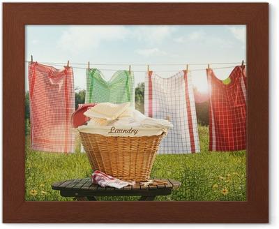 Bomuld håndklæder tørring på tøjlinjen Indrammet plakat