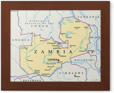 Zambia Kartta Sambia Landkarte Juliste Pixers Elamme
