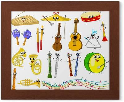 Póster Conjunto De Divertidos Instrumentos Musicales De Dibujos