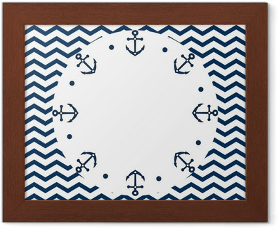 Navy blue and white frame with anchors, on a chevron, vector