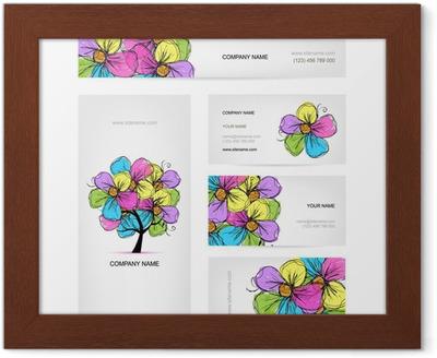 Visitenkarten Design Mit Bunten Blumen Baum