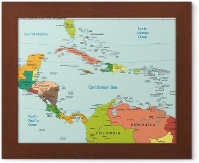 Maailman Maa Keski Amerikka Karibian Kartta Juliste Pixers