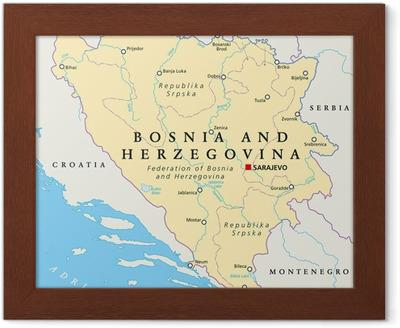 Karta Bosnien Och Hercegovina.Poster Bosnien Och Hercegovina Political Map Pixers Vi Lever
