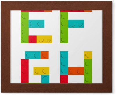 Alfabet uppsättning gjord av leksaksbyggtegelstenar isolerade iso