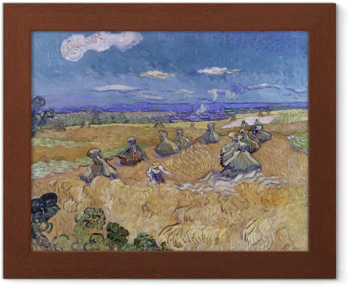 Plakat w ramie Vincent van Gogh - Zbiory na polach pszenicy - Reproductions