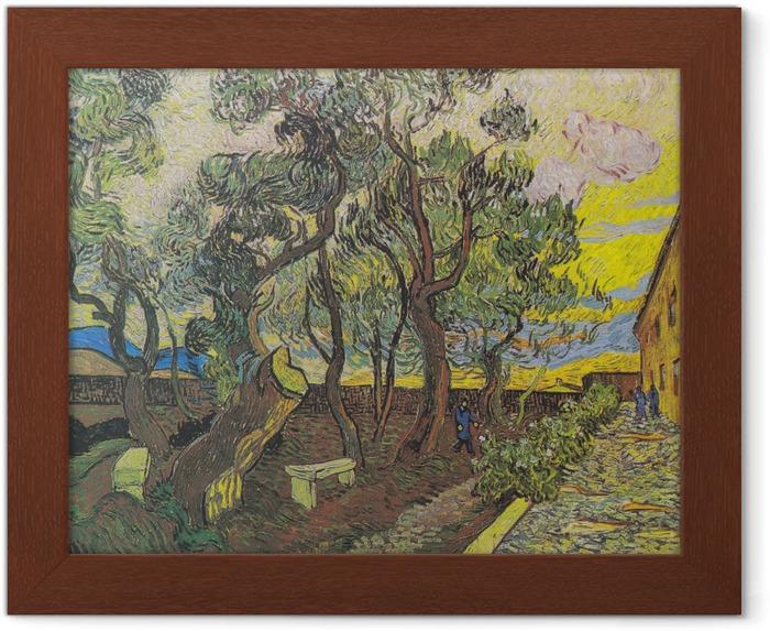Ingelijste Poster Vincent van Gogh - De tuin van de inrichting - Reproductions
