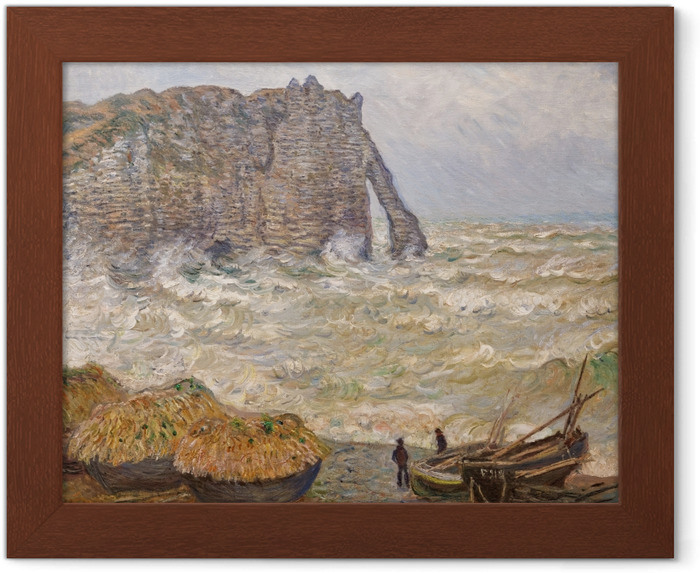 Poster en cadre Claude Monet - Mer agitée à Étretat - Reproductions