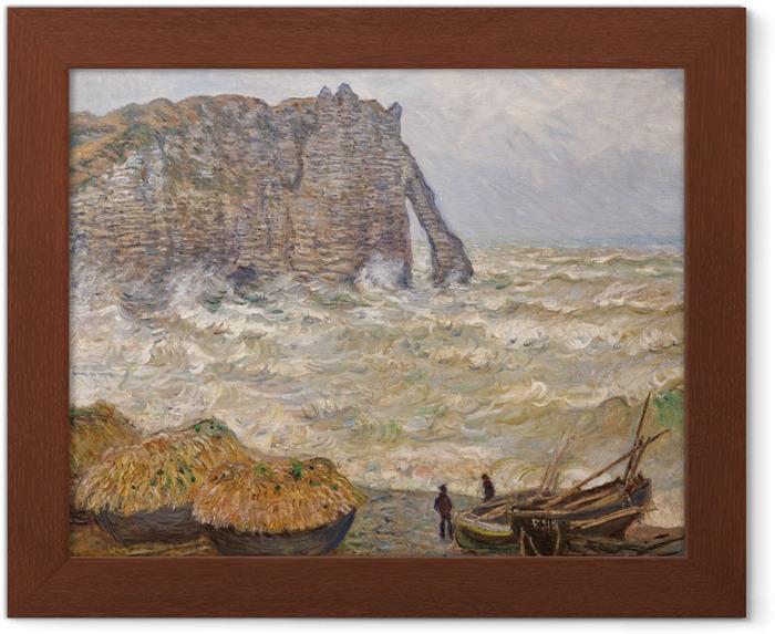 Póster Enmarcado Claude Monet - Mar agitado en Etretat - Reproducciones
