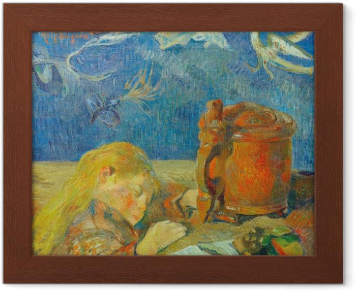 Plakat w ramie Paul Gauguin - Portret Clovis Gauguin (Śpiące dziecko) - Reprodukcje