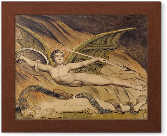Plakat w ramie William Blake - Szatan unoszący się nad Ewą - Reprodukcje