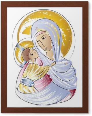 Póster Virgen María Virgen Con Niño En El Icono De Color Abstracta