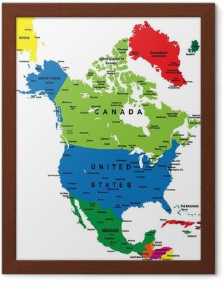 Plakat Politisk Kart Over Nord Amerika Pixers Vi Lever For