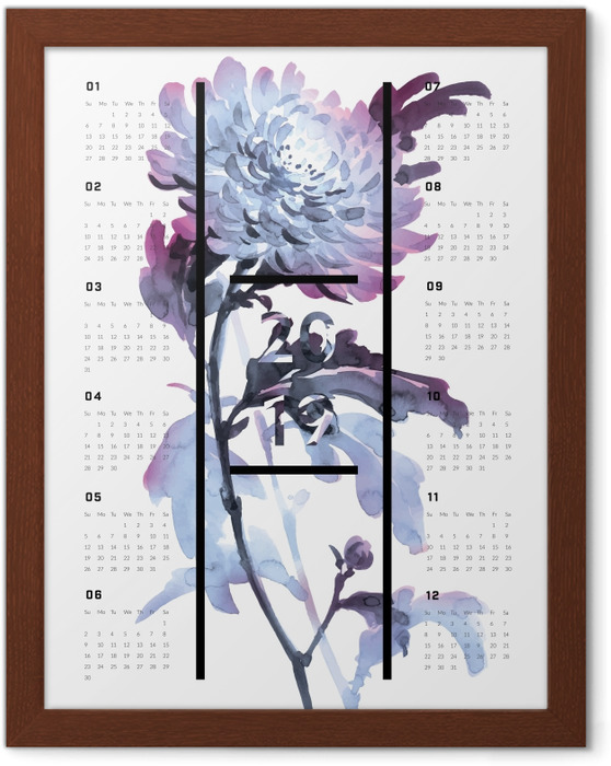 Póster Enmarcado Calendario 2019 - Flores -
