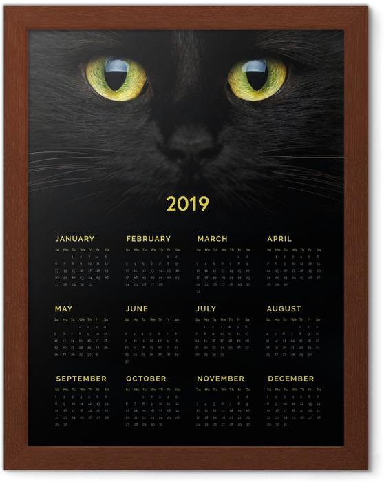 Poster i Ram Kalender 2019 - Svart katt -