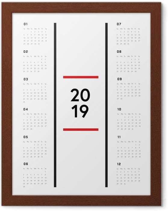 Póster Enmarcado Calendario 2019 - minimalista -