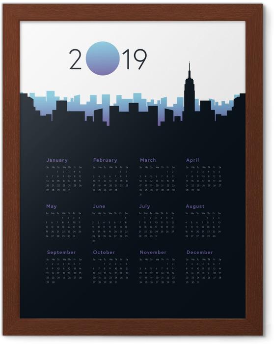 Póster Enmarcado Calendario 2019 - Ciudad -