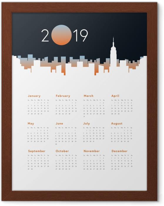 Póster com Moldura Calendário 2019 - Panorama da cidade -