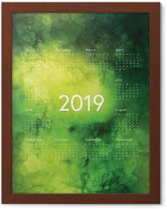 Poster en cadre Calendrier 2019 - règles vertes -