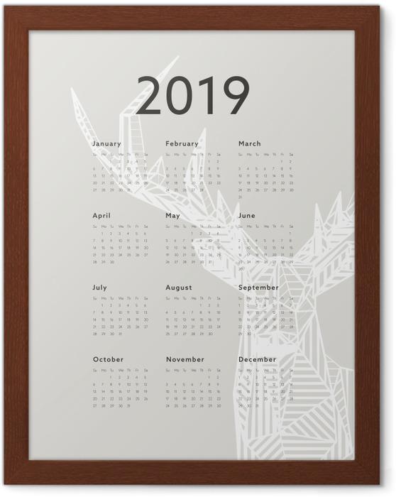 Póster Enmarcado Calendario 2019 - ciervos -