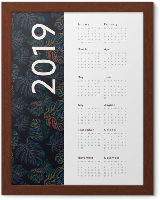 Póster Enmarcado Kalendarz 2019 - flores -