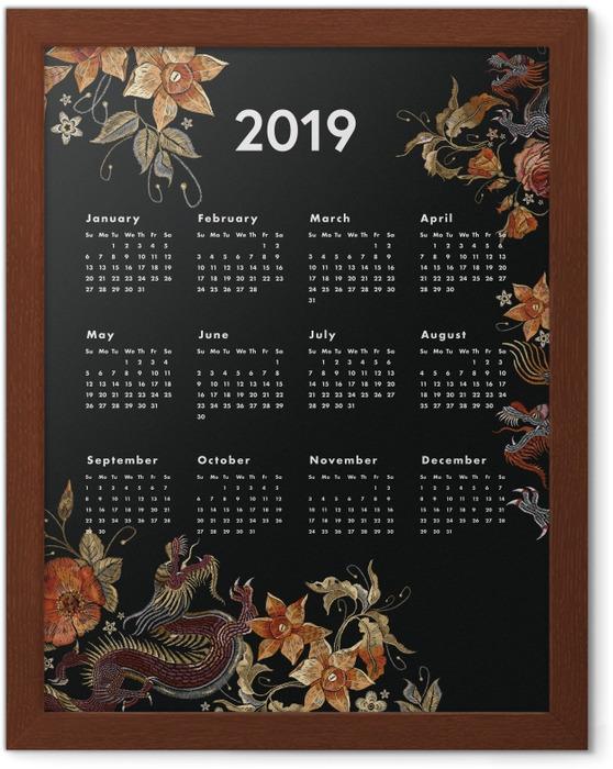 Póster com Moldura Kalendarz 2019 - outono -
