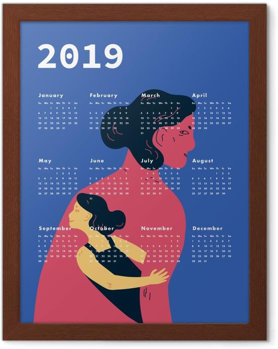 Gerahmtes Poster Kalendarium 2019 - Frauen -