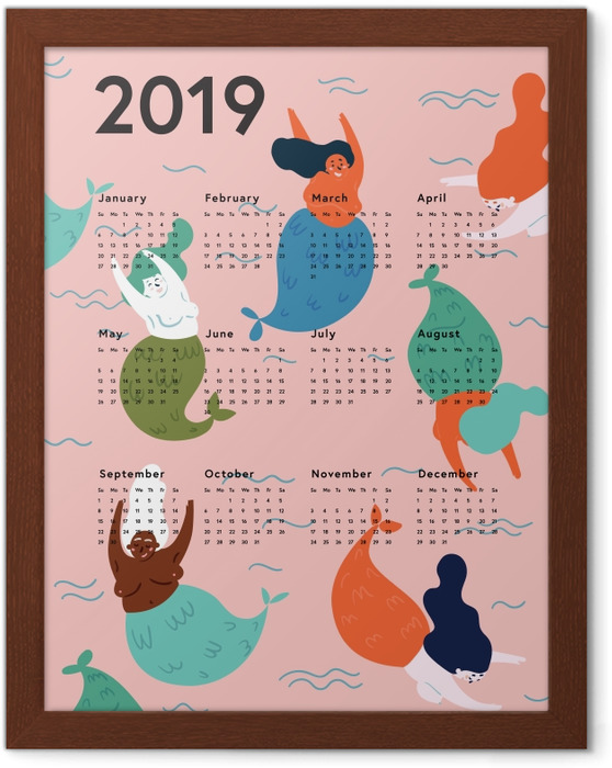 Póster Enmarcado Kalendarz 2019 - sirenas -