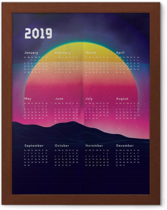 Gerahmtes Poster Kalendarium 2019 - Sonnenuntergang -