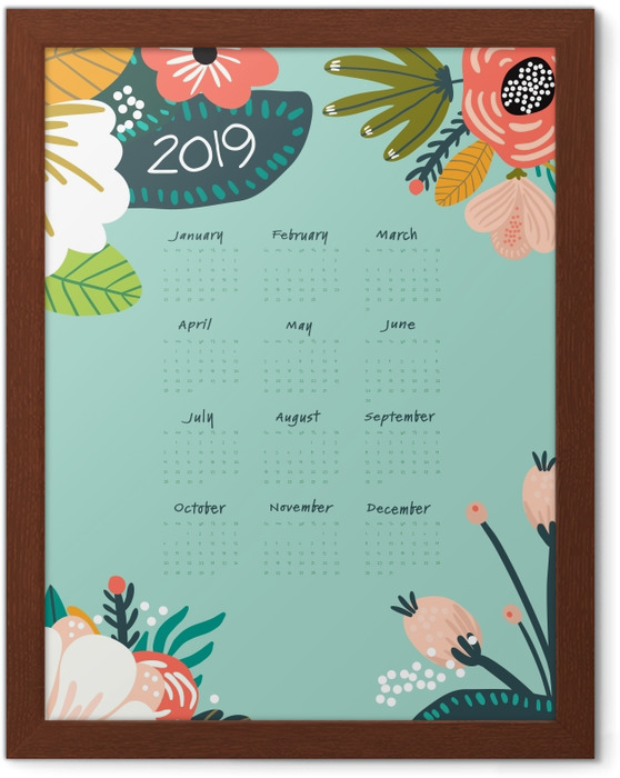 Póster Enmarcado Calendario 2019 - turquesa y flores -