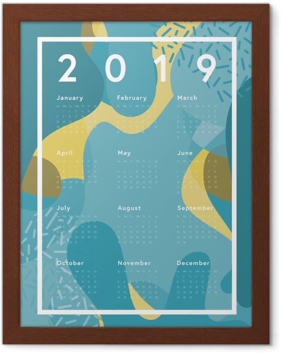 Ingelijste Poster Kalender 2019 - blauw abstractie -