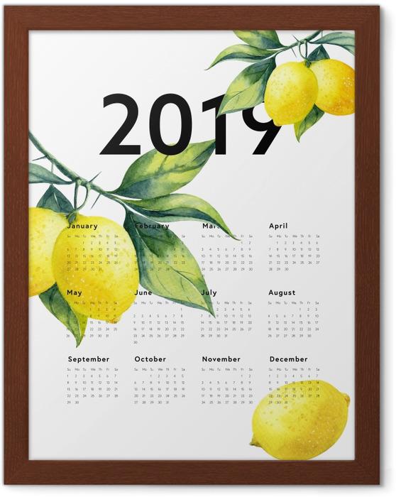 Póster Enmarcado Calendario 2019 - limones -