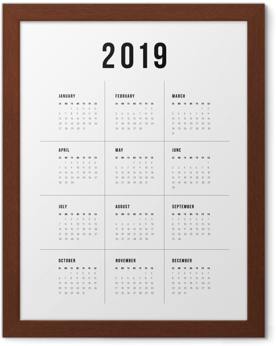 Poster en cadre Calendrier 2019 - traditionnel -