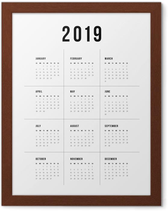 Póster Enmarcado Calendario 2019 - tradicional -
