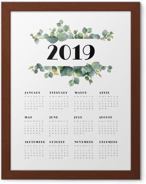 Póster Enmarcado Calendario 2019 - hojas y blanco -