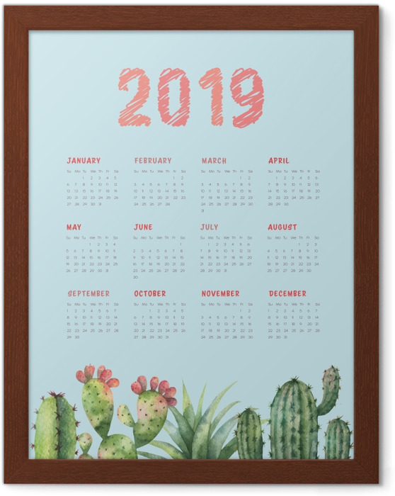 Poster in Cornice Calendario 2019 - cactus e turchese -