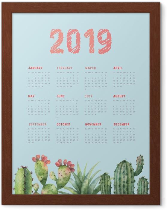 Poster en cadre Calendrier 2019 - cactus et turquoise -
