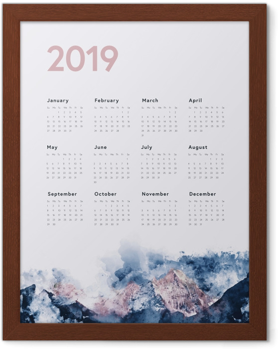 Calendar 2019 - mountains Framed Poster - Calendars 2019