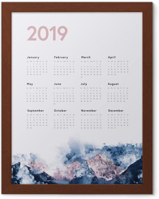 Poster en cadre Calendrier 2019 - montagnes -