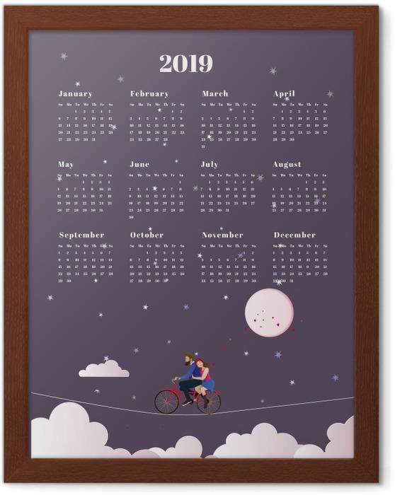 Innrammet plakat Calendario 2019 - viaggio -
