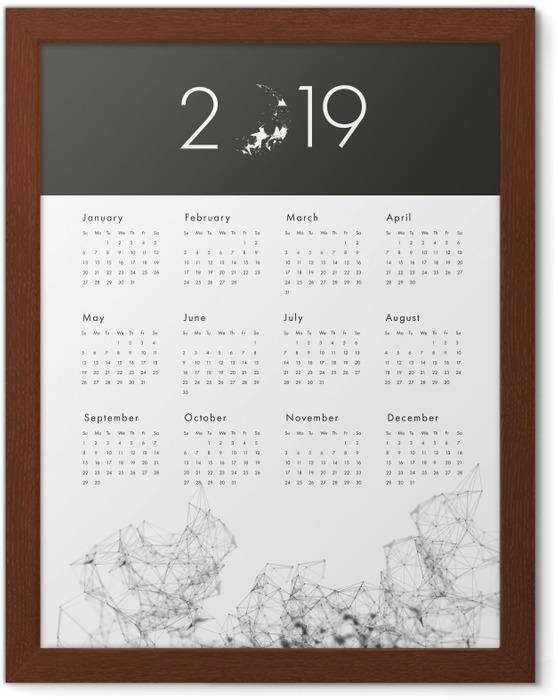 Poster en cadre Calendrier 2019 - noir et blanc -