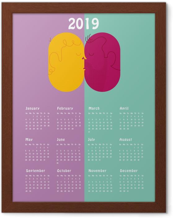 Plakat w ramie Kalendarz 2019 - pocałunek - Kalendarze 2018